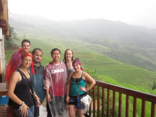 Soaking wet and enjoying the terraces
